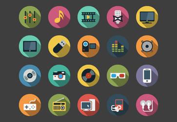 Multimedia Flat Icons bundle by Alexgorilla