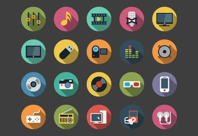 Multimedia Flat Icons bundle