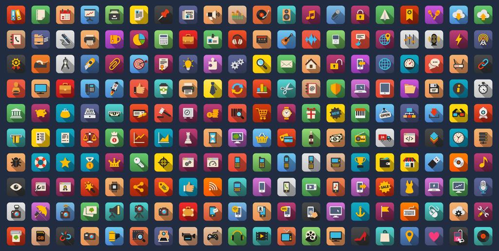 Universal Colorful Flat Icons Bundle by Alexgorilla