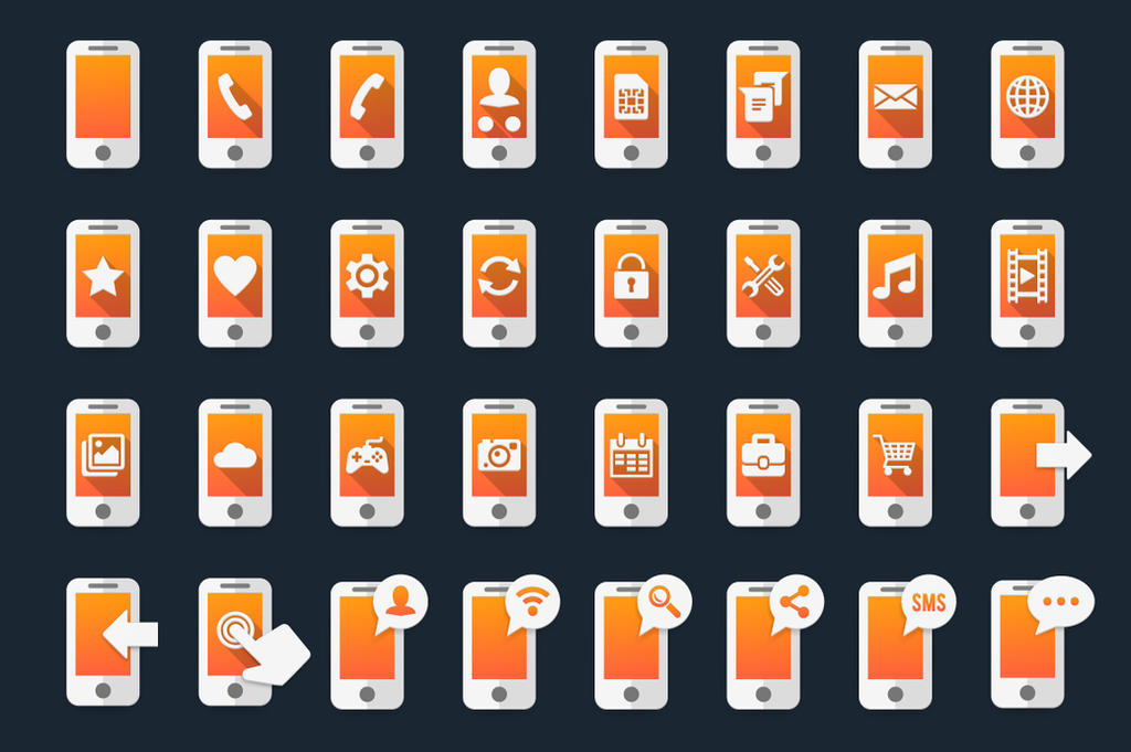 Smartphone Icons by Alexgorilla