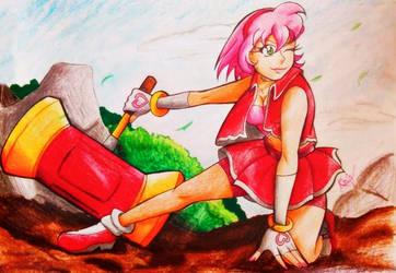 Amy rose -Human Version -battlefield -By Aome-chan by aomehigurashi258
