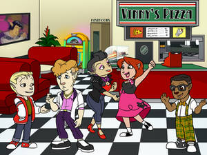 Teddy and the Gang at Vinny's Pizza