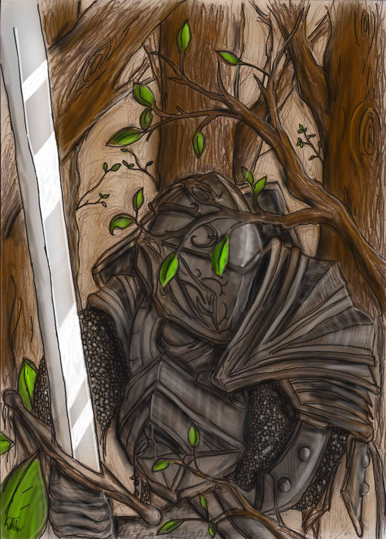 Knight In the Woods (colored) by Oxide23