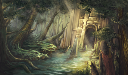 Ruins in the Grove by Isminne