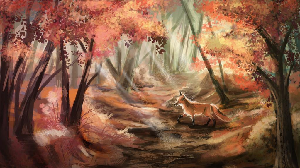 Autumn Forest Speedpaint by Isminne