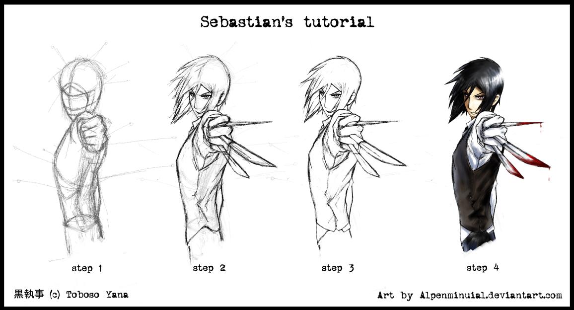 how to draw sebastian michaelis