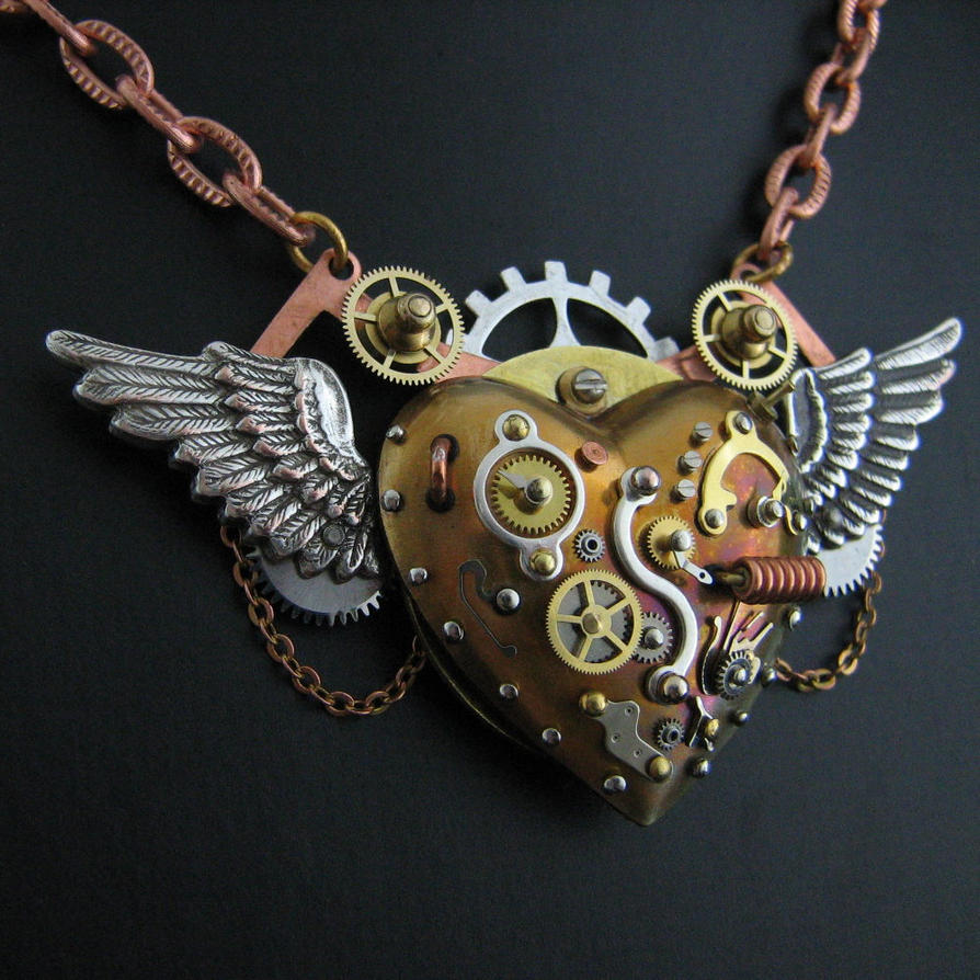 Is Steampunk Jewelry A Craft Or An Art: Flying Steampunk Heart In Dock By Steelhipdesign On DeviantArt