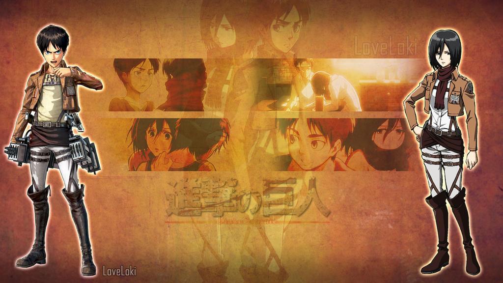 Eren and Mikasa by LoveLoki