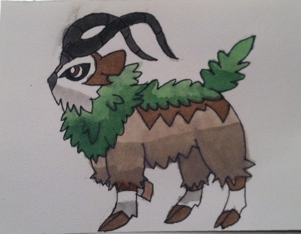 Pokemon X and Y: Gogoat Watercolor by Brawl483