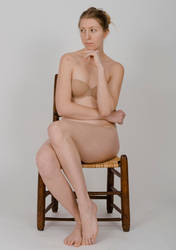 Body Reference - Sitting in Chair- Hand on Chin by Danika-Stock