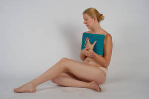 Body Reference - Sitting -  Book to Chest by Danika-Stock