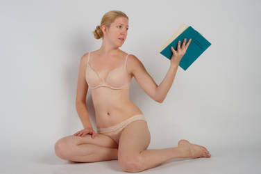 Body Reference - Sitting - Book in Hand - Reading by Danika-Stock
