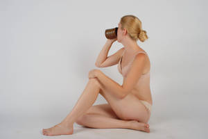 Body Reference - Sitting - Drinking from Cup by Danika-Stock