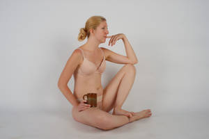 Body Reference - Sitting - Holding Cup -Thinking by Danika-Stock