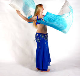 Belly Dancing - Fan Veils- Side View by Danika-Stock