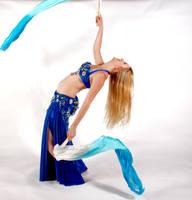 Belly Dancing - Fan Veils - Backbend Layback by Danika-Stock