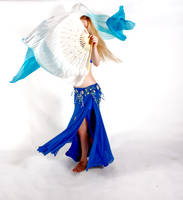 Belly Dancing - Fan Veils - Spinning Front View by Danika-Stock