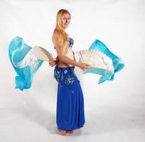 Belly Dancing - Fan Veils - Side View by Danika-Stock