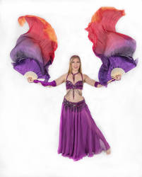 Belly Dancing - Double Fan Veils - Both Up