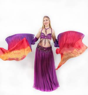 Belly Dancing- Fan Veils - Both Mid