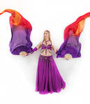 Belly Dancing - Fan Veils - Both Up - Looking Away by Danika-Stock