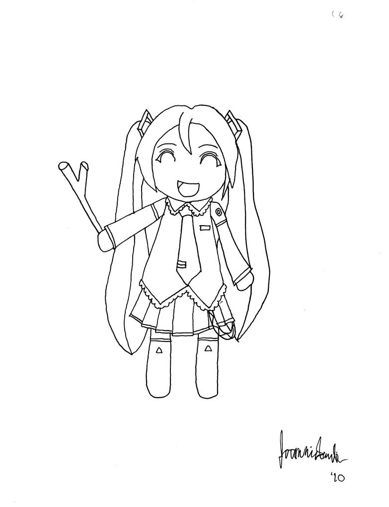 the gallery for miku hatsune chibi lineart