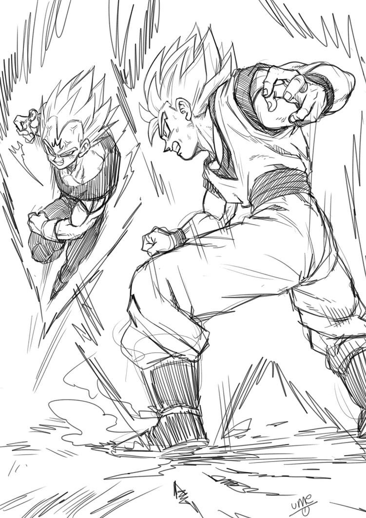 songoku vs vegeta by oume12