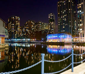 Reflections in water - docklands night view