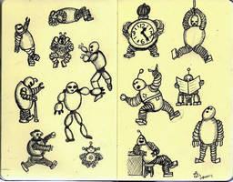 Mini Robots On Mini Sketchbook by gonzalexx1