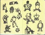 Mini Robots On Mini Sketchbook