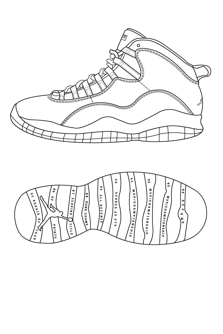 Air jordan retro 10 template by atraain on deviantart for Retro coloring pages