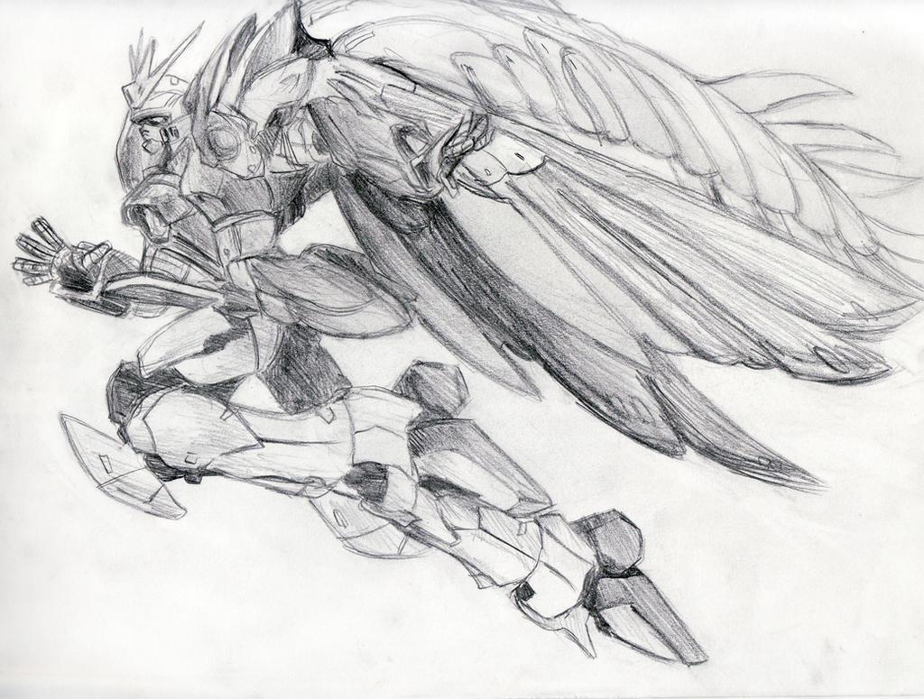 Line Art Zero : Wing zero custom sketch by katiewhy on deviantart