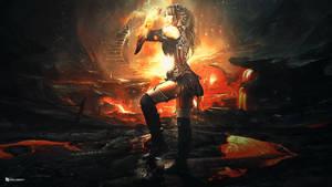 Steampunk Girl  In lava World / Manipulation