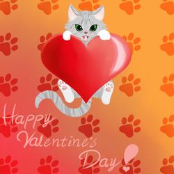 V-Day Cat Card by Laeshin