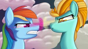 Wallpaper Rainbow Dash and Lightning Dust