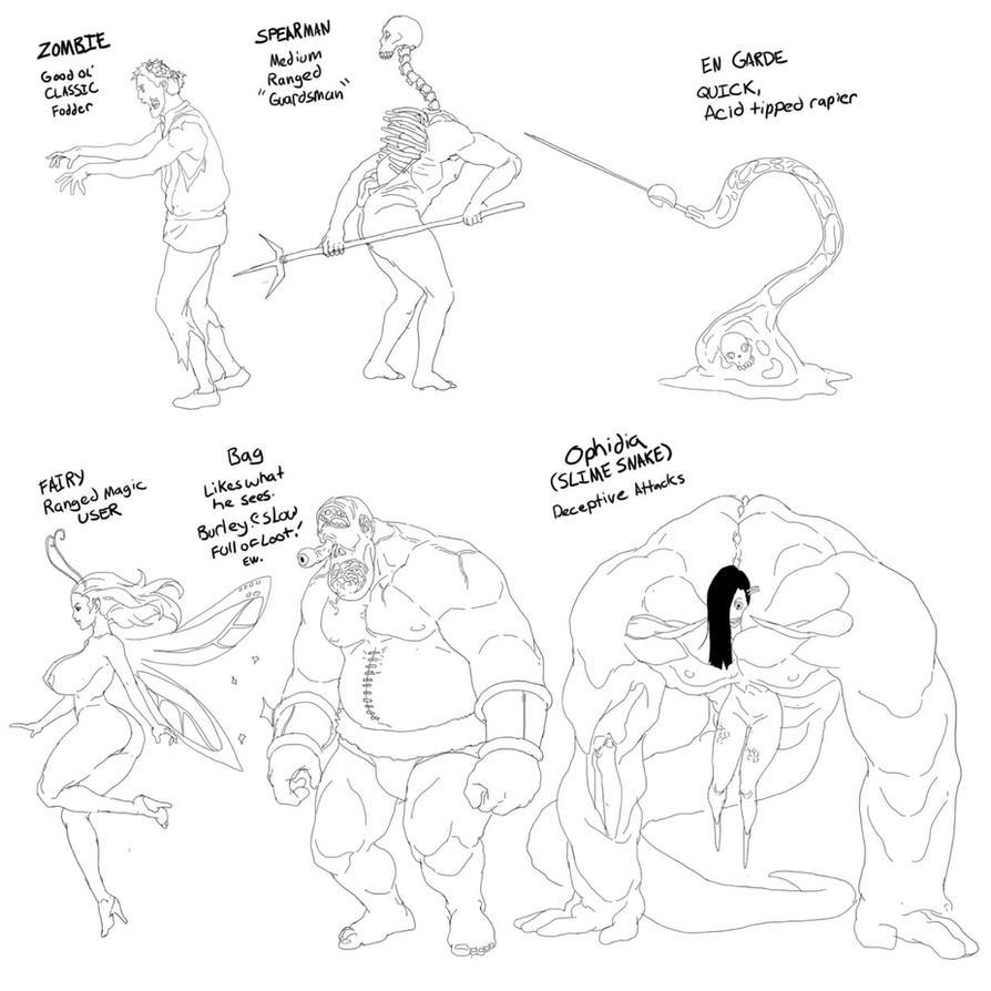 Game enemy designs by TentacleMonsterChu