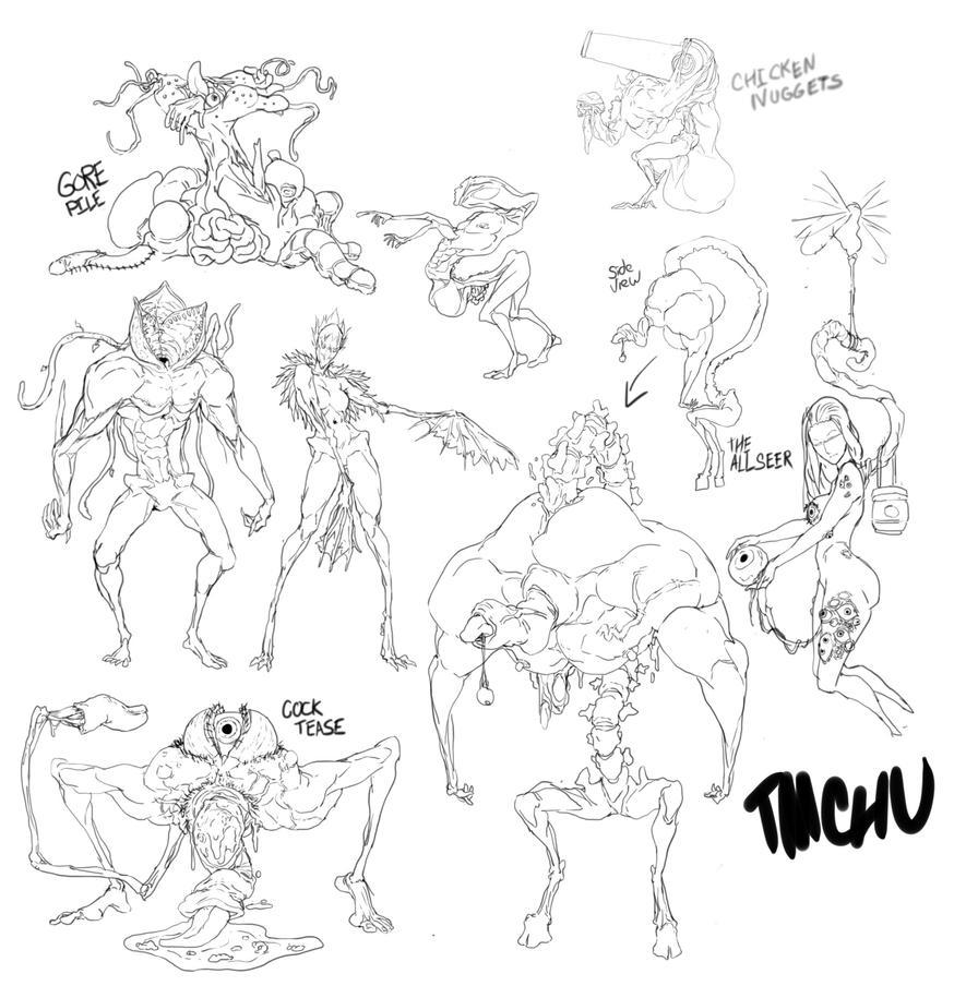 Monster design sketches by TentacleMonsterChu