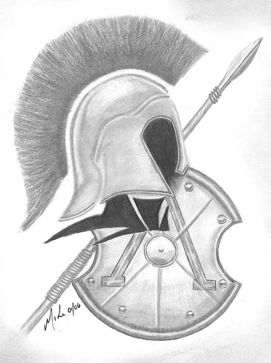 Spartan Sword And Shield Drawing