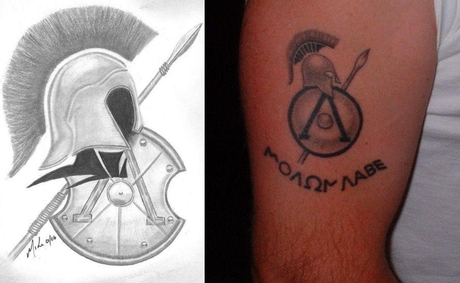spartan tattoo side by side by mjp67 on deviantart. Black Bedroom Furniture Sets. Home Design Ideas