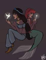 Jasmine and Ariel by Octorin