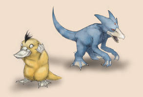 Psyduck and Golduck by RtRadke