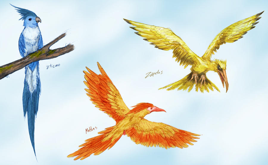 Articuno, Zapdos and Moltres by RtRadke on DeviantArt