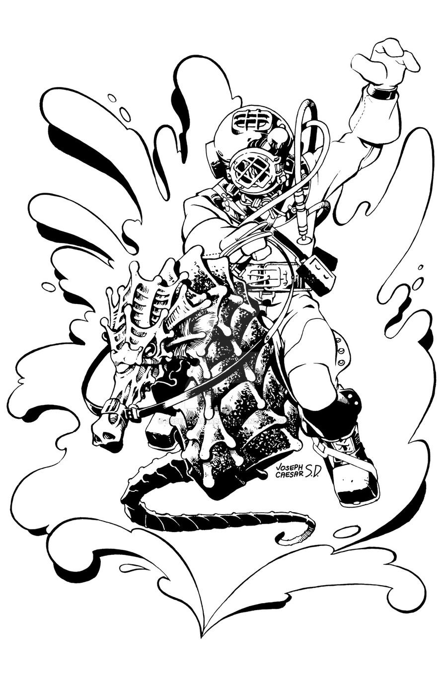 Deep sea diver rodeo by josephcaesarsd on deviantart for Deep sea diver coloring page