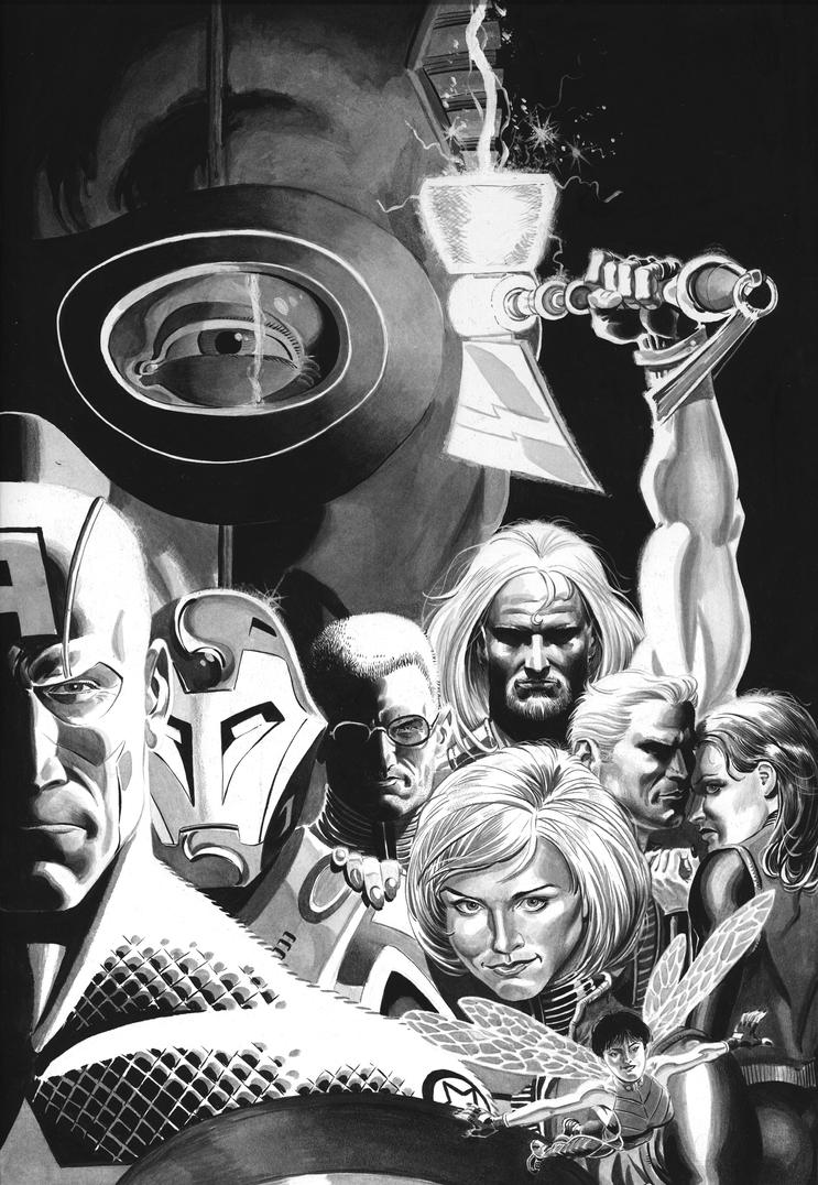Ink Wash Painting Of People Ultimates avengers ink washInk Wash Painting Of People