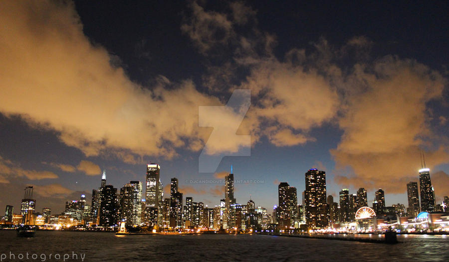 Chicago Skyline at Night by DJCandiDout