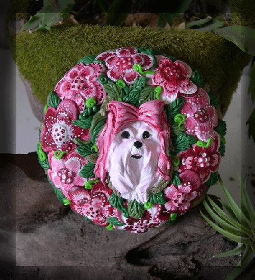 Maltese Floral by dreamweaversculpts