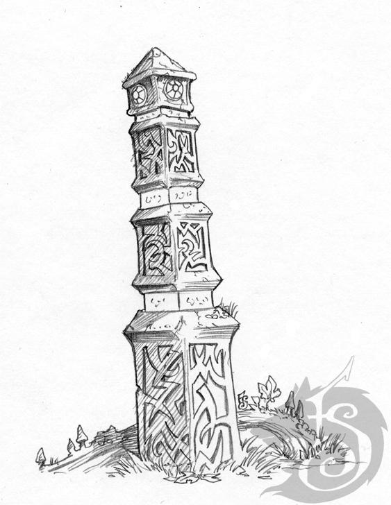 Sentry Stone drawing by FStitz