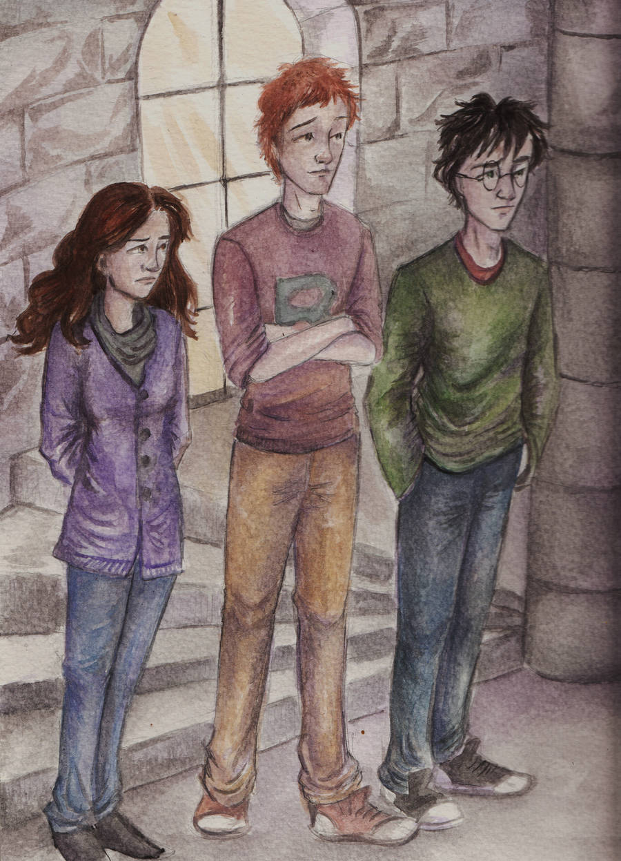 Harry, Ron and Hermione by HogwartsHorror