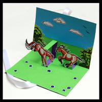 Pop Up Card Fjord Horses