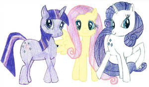 Twilight, Fluttershy, and Rarity